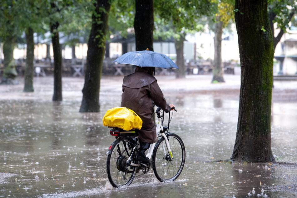 Eine Frau fährt im Regen mit ihrem Fahrrad durch den Hofgarten in München. Deutschland hat 2021 einen besonders regenintensiven Sommer erlebt.