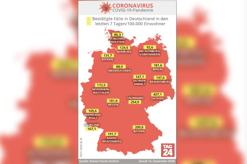 Die Karte zeigt die bestätigten Corona-Fälle in Deutschland in den letzten sieben Tagen je 100.000 Einwohner.