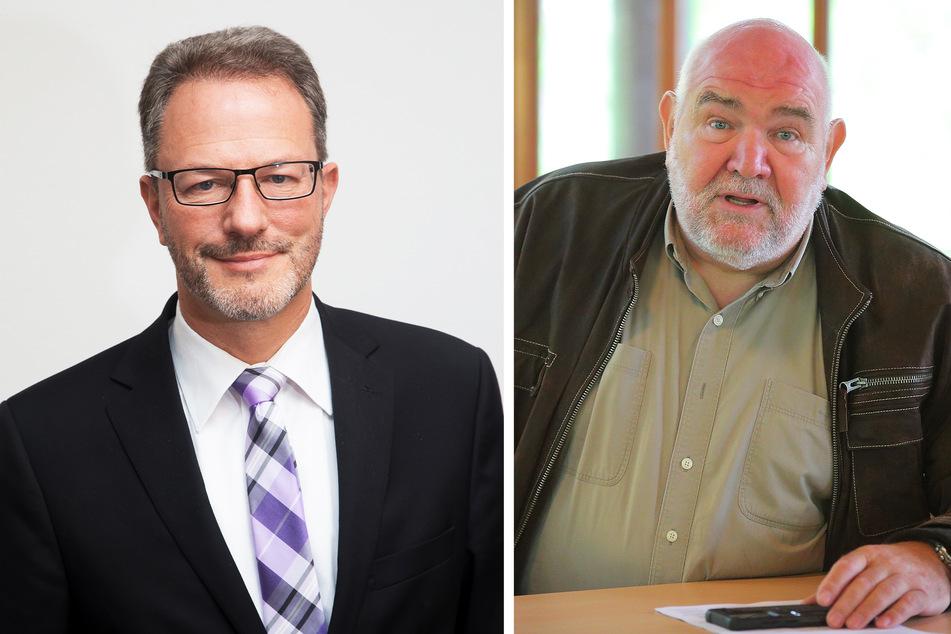 Mischa Woitscheck (l.), Geschäftsführer des Sächsischen Städte- und Gemeindetags, und Wilhelm Bernstein (66), Vizepräsident des Landesjagdverbands Sachsen.