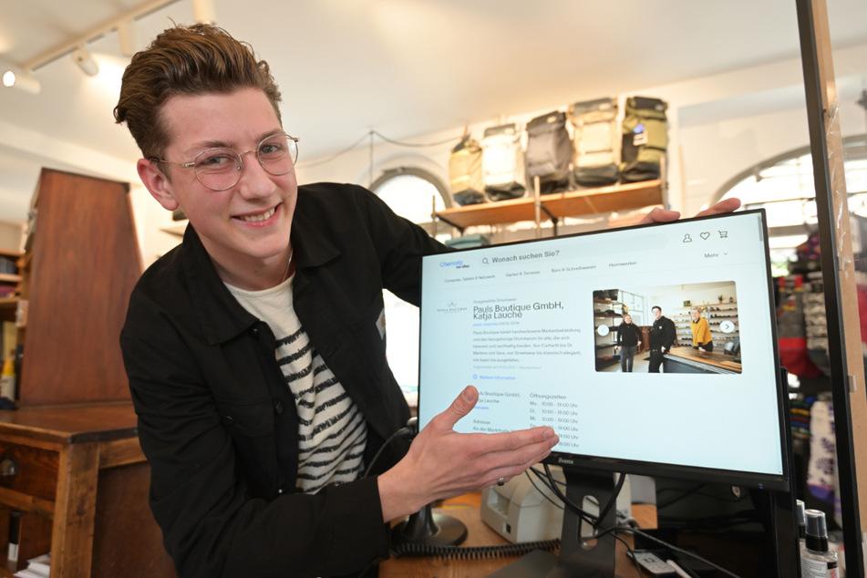 """""""Pauls Boutique""""-Azubi Luis Biermann (20) präsentiert seinen """"Stand"""" auf dem neuen Internet-Marktplatz."""