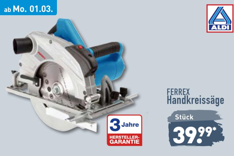 Handkreissäge von Ferrex ab Montag für 39,99 Euro bei ALDI in Genthin