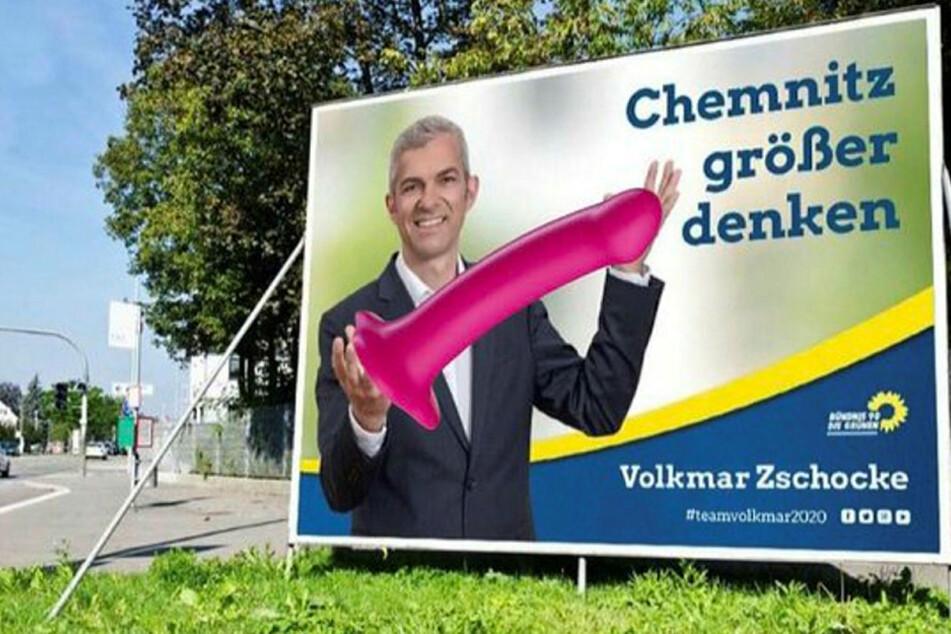 Auch ein Dildo landete per Photoshop auf dem Plakat.