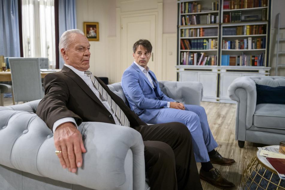 Sturm der Liebe: Werner und Robert sind ratlos. Müssen sie ihre Fürstenhof-Anteile wirklich verkaufen?