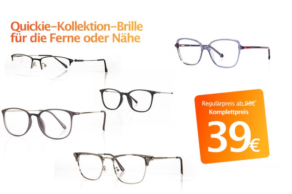Quickie-Kollektion-Brille für die Ferne oder Nähe für nur 39 Euro