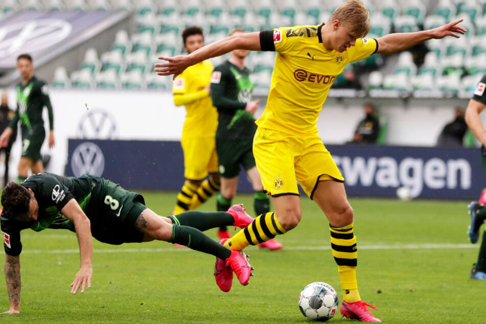 BVB-Torjäger Erling Haaland (r.) blieb gegen den VfL Wolfsburg blass. Läuft er gegen Bayern München wieder zu Hochform auf?
