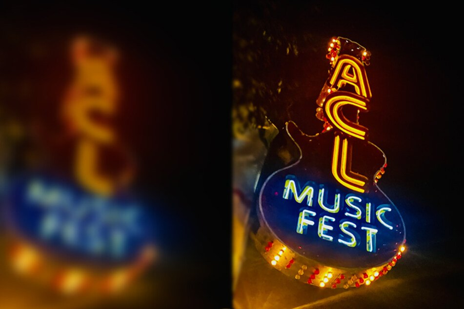 One of the many ACL Music Fest light-up signs at the festival entrance.