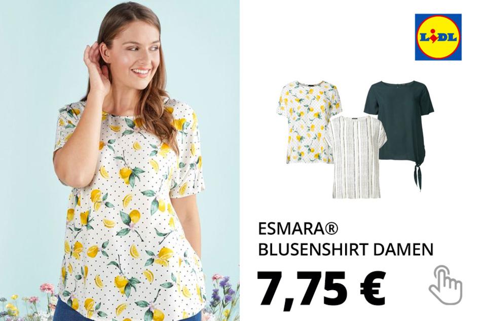 ESMARA® Blusenshirt Damen, mit Rundhalsausschnitt, aus reiner Viskose