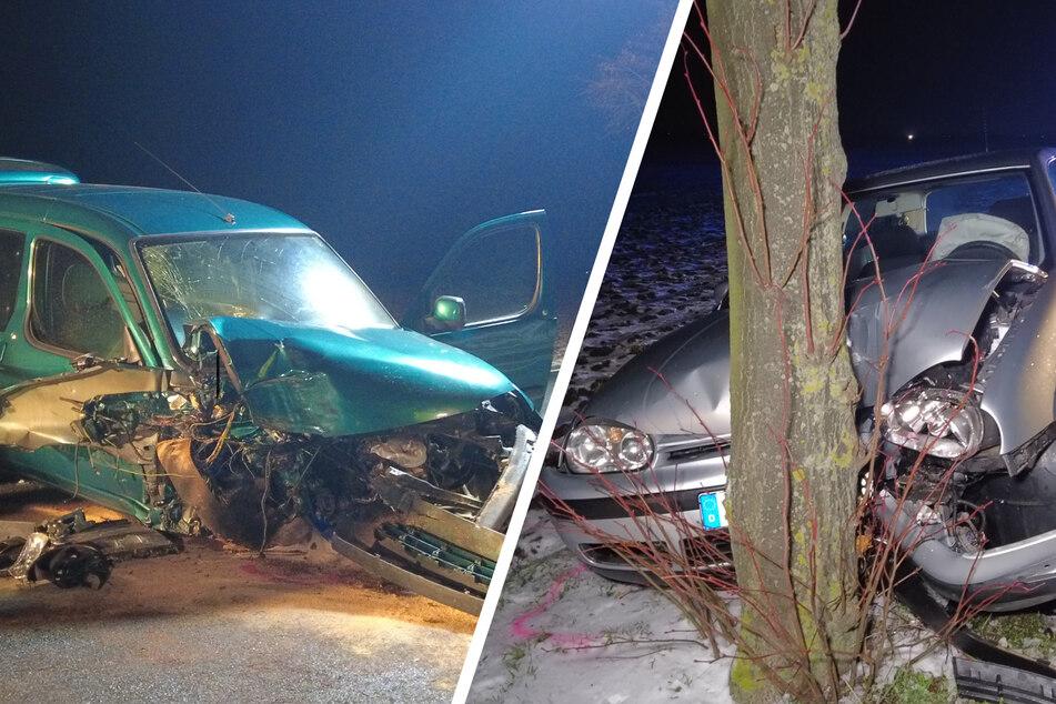Autofahrerin will Unfall ausweichen und kracht selbst gegen Baum