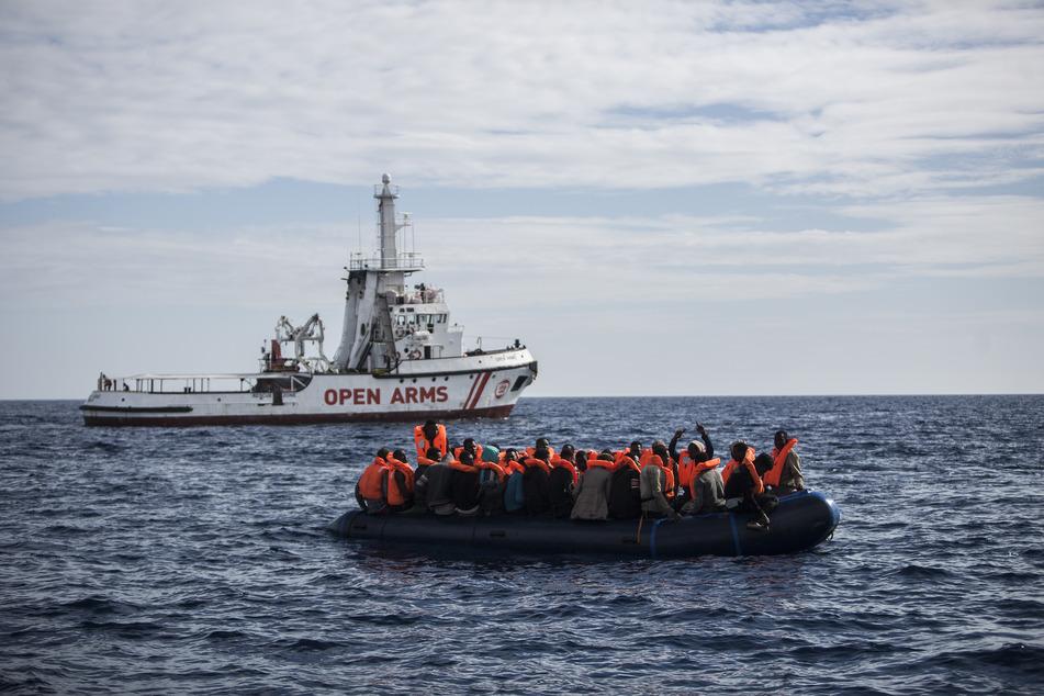 "Die ""Open Arms"" rettete am Mittwoch in Seenot geratene Flüchtlinge."