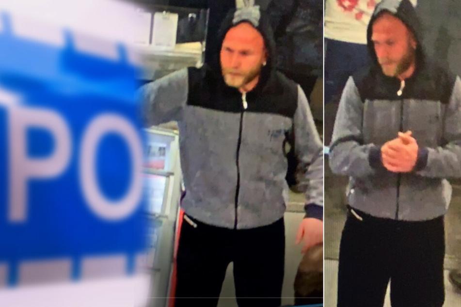 Mit den Fotos aus einer Überwachungskamera sucht die Polizei einen unbekannten Täter.