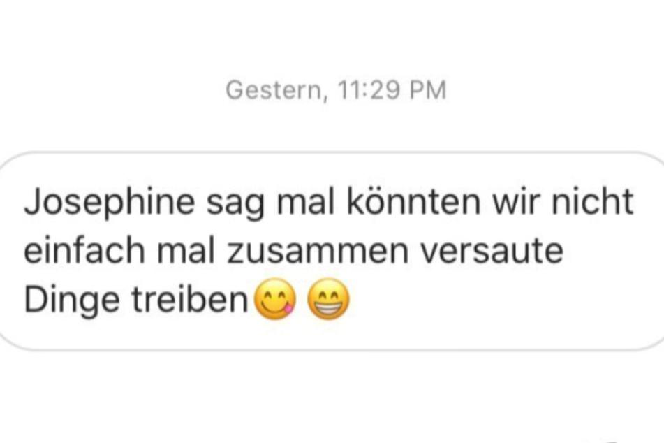 Sexy Josi veröffentlichte auf Instagram die Sex-Anfrage eines Fans.