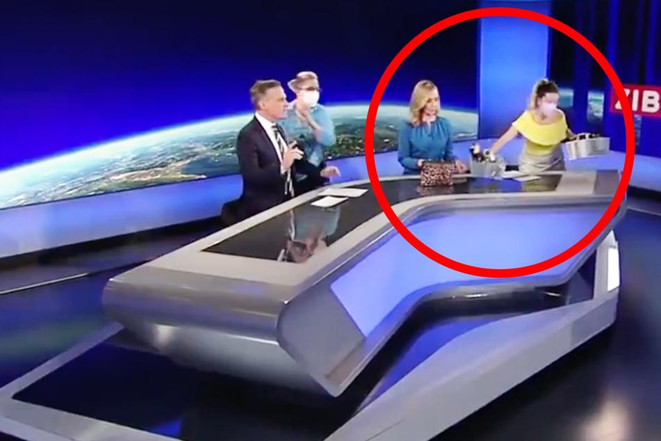Live im TV: Visagistinnen zu langsam? Taschen in laufender Sendung weggeräumt