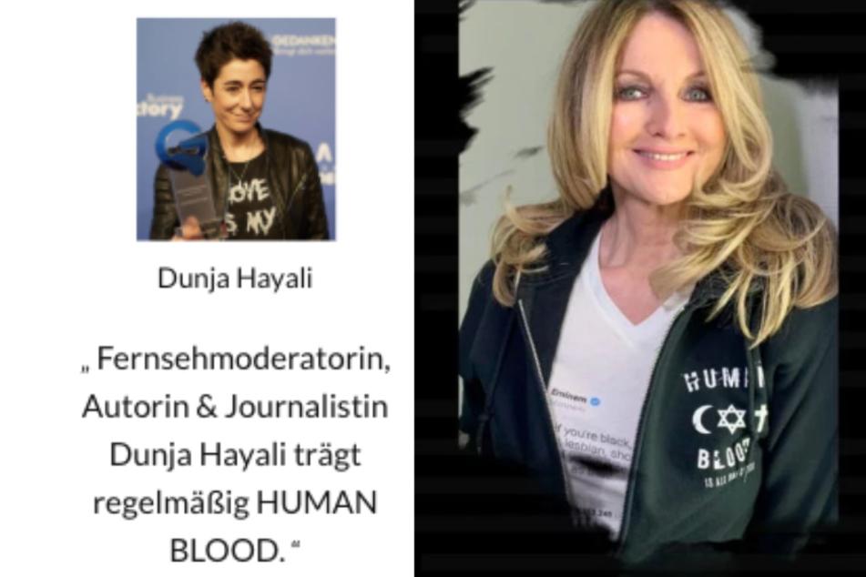 """Auf der Webseite wirbt """"Human Blood"""" mit Promis wie etwa Dunja Hayali oder Frauke Ludowig. (Montage/Screenshots)"""