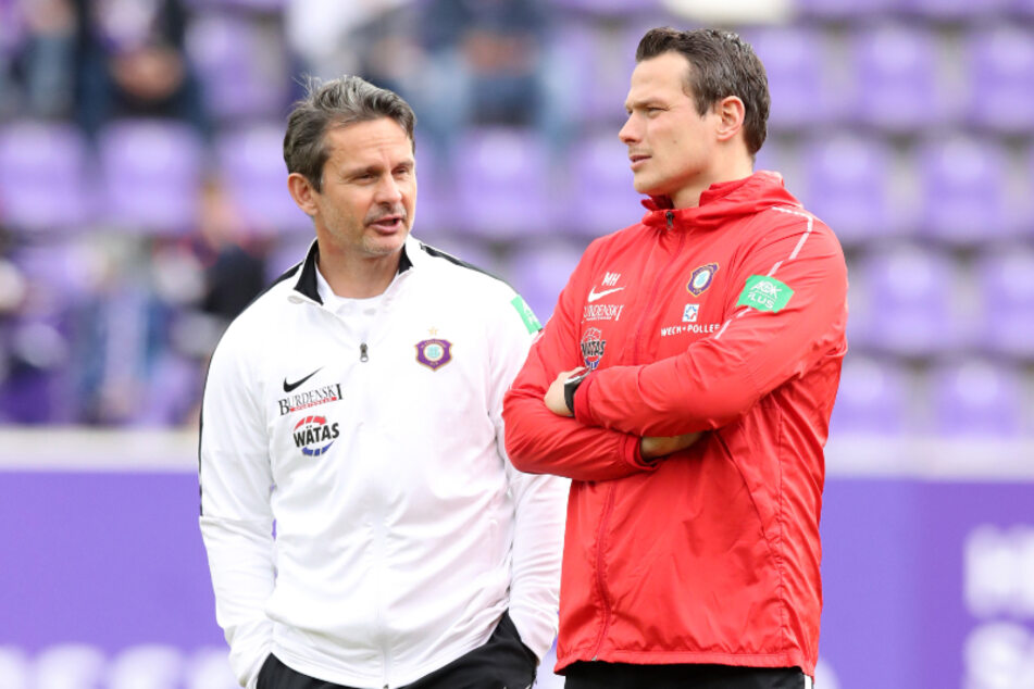 """Aktuell ist Marc Hensel (r.) Co-Trainer von Dirk Schuster. Und ganz """"nebenbei"""" noch Gymnasiallehrer."""
