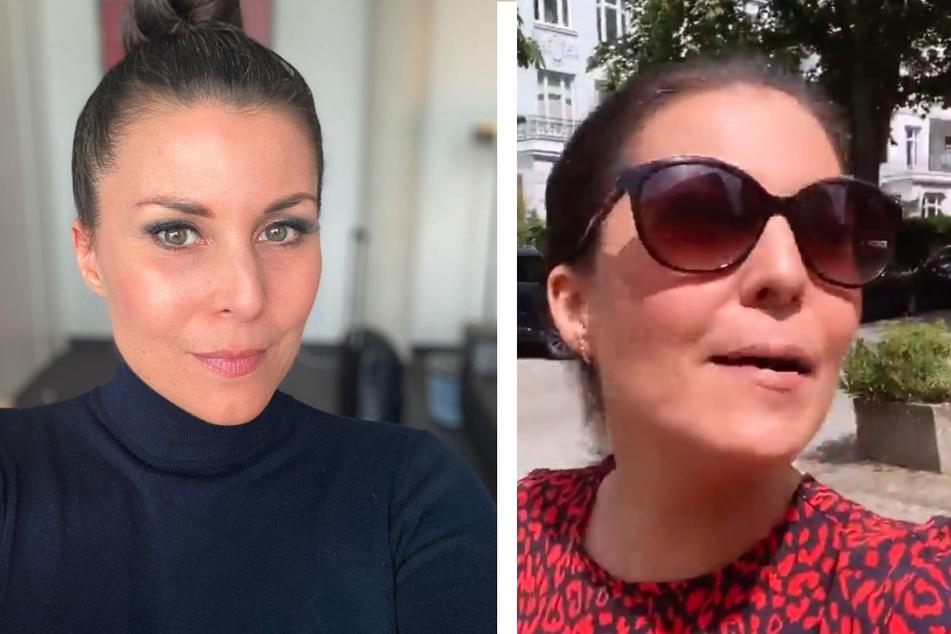 Vanessa Blumhagen (43) auf Instagram. Links, wie wir sie kennen. Auf der rechten Seite nach ihrem überwundenen Allergie-Schock.