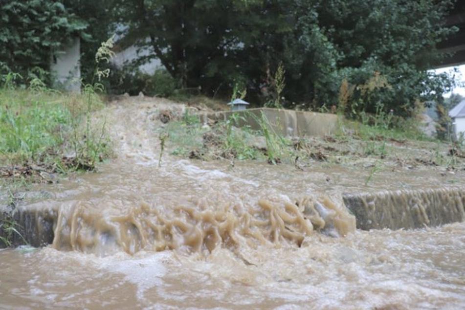 Die staubtrockenen Böden in Bautzen können die vielen Wassermengen nicht aufnehmen.