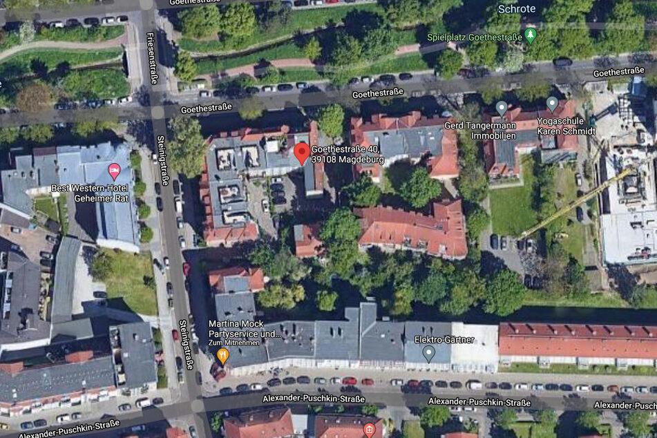 Der Tatort befindet sich im Magdeburger Stadtteil Stadtfeld-Ost in der Goethestraße 40.