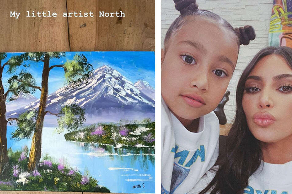 Kim Kardashian shared a painting on her Instagram that she says was done by her 7-year-old daughter.