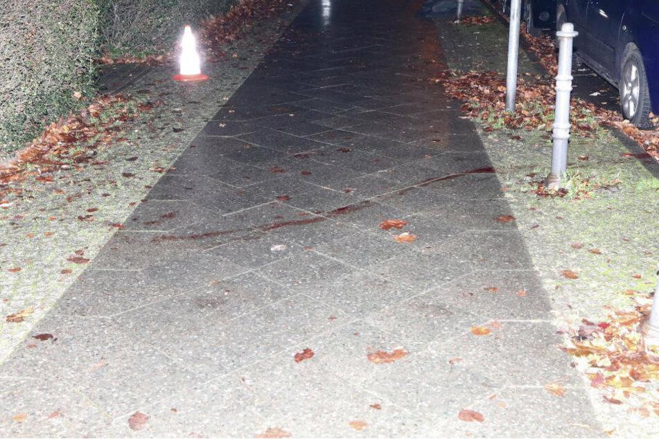 Eine Blutspur zieht sich von der Straße, quer über den Gehweg, bis zum Haus.