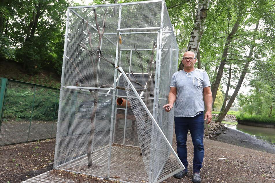 Helfer Reinhard Serchen zeigt den Schaden am Streifhörnchenhaus, an dem er einst selbst mitgebaut hat.