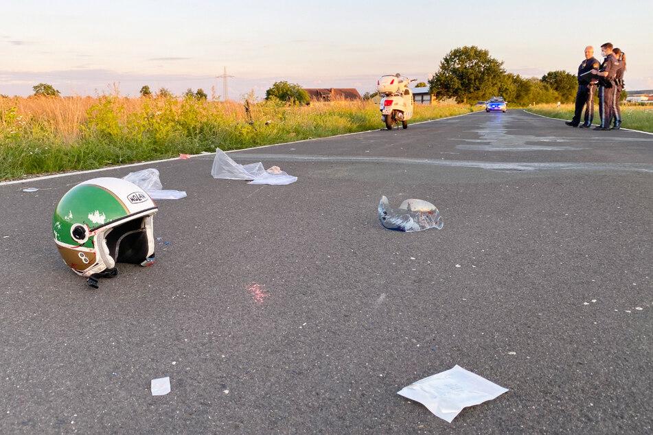 Ein Radfahrer (17) ist in Bayern mit einem Roller, auf dem sich zwei Personen (67, 62) befanden, kollidiert.