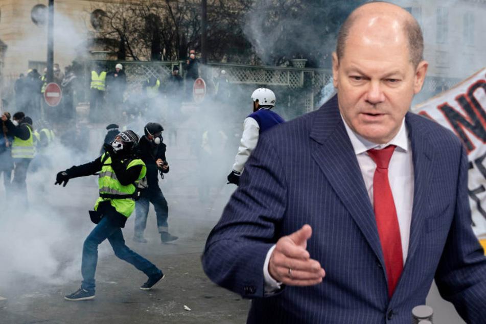 Olaf Scholz sieht auch in Deutschland mögliche Gelbwesten-Proteste wie in Frankreich. (Bildmontage)