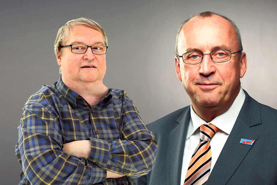 """Er entschuldigt sich jetzt für seinen Fauxpas: BfZ/ Grüne-Geschäftsführer Wolfgang Rau (61, li.). - Fühlt sich durch das """"A-Wort"""" beleidigt - und teilt selbst heftig aus: AfD-Stadtrat Frank Forberg (61, re)."""