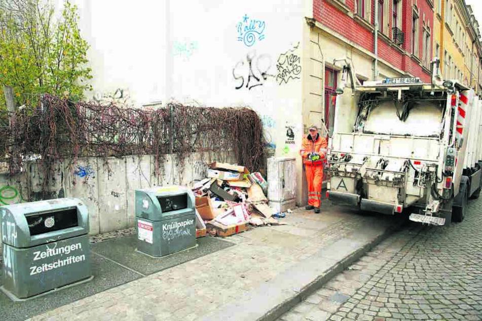 Immer wieder quellen die Container auch auf der Sebnitzer Straße über. Ein  Anruf genügt, dann wird auch mal außerplanmäßig geleert.