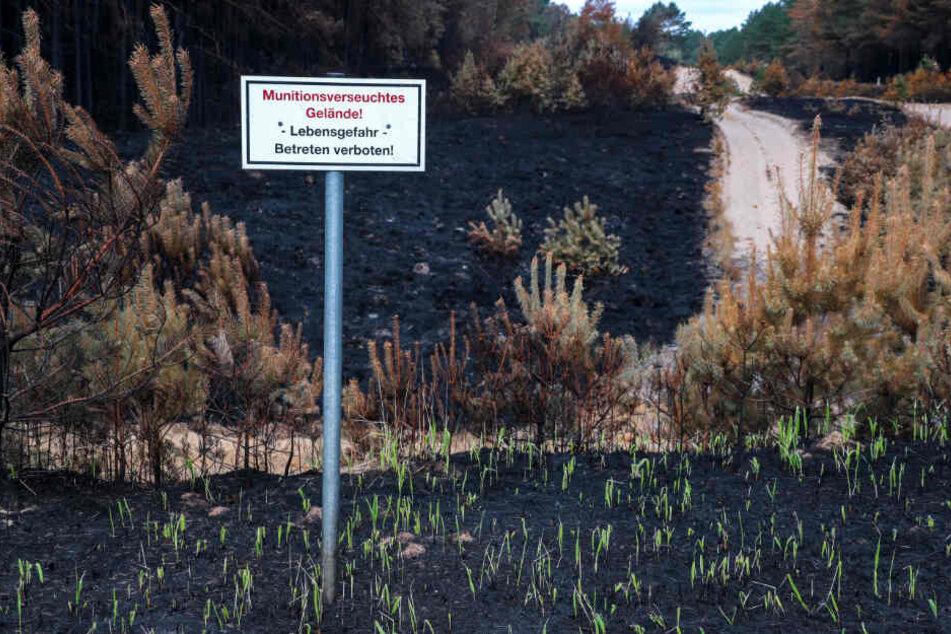Ein Warnschild weist auf das munitionsverseuchte Gebiet hin.