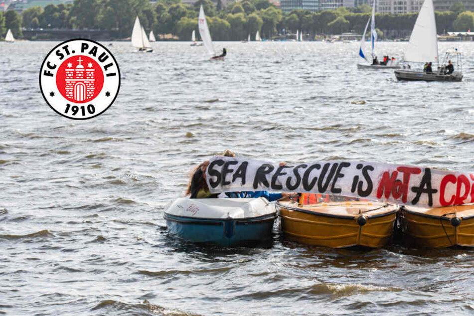 FC St. Pauli zeigt auf der Alster Flagge für Seenotretter