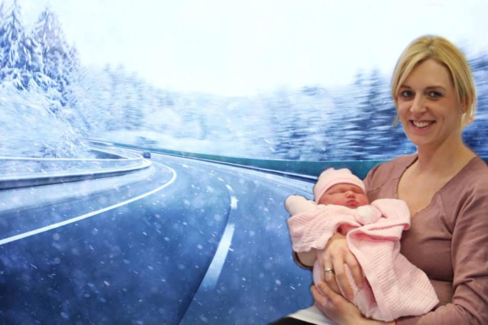 Daniella Waring musste ihr drittes Kind im Schneechaos Nordenglands entbinden.