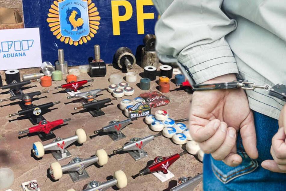 Sechs Kilogramm Kokain waren in den Rädern der Skateboards versteckt.