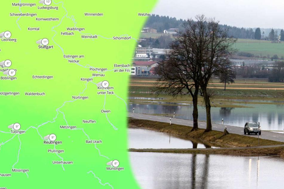 Im Schwarzwald, auf der Schwäbischen Alb und in Oberschwaben könnte es zu Hochwasser kommen, wie man es nur alle 20 Jahre sieht. (Fotomontage/Symbolbild)