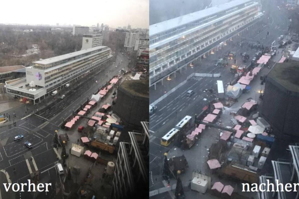 Die zwei Fotos zeigen den Weihnachtsmarkt vor dem Anschlag und nachdem der Laster quer durch den Markt raste.