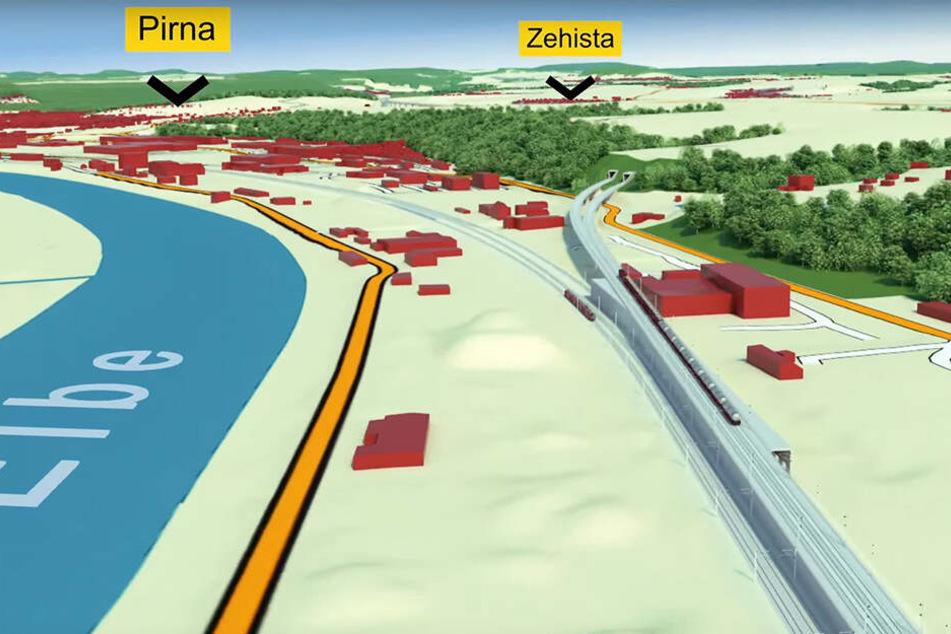 Die Bahnstrecke heute und morgen: Links an der Elbe der jetzige Verlauf, auf dem alle Züge, auch Güter- und Fernzüge fahren. Rechts der Eingang zur unterirdischen Entlastungsstrecke.