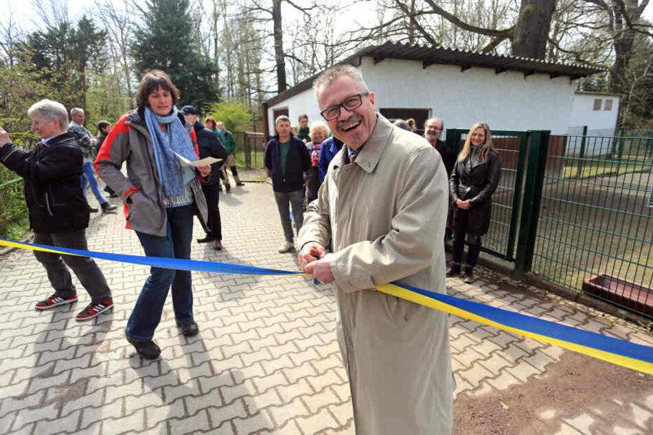 Tierparkchefin Anja Dube (47) und Bürgermeister Miko Runkel (56, parteilos)  eröffneten die neuen Gehege.