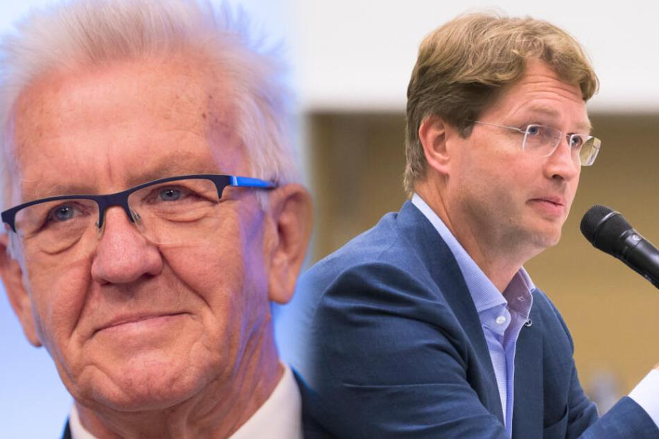 Baden-Württembergs Ministerpräsident Winfried Kretschmann (Grüne, links im Bild) und Daimler-Chef Ola Källenius tauschen sich am Samstag in Stuttgart über die Mobilität der Zukunft aus. (Fotomontage)
