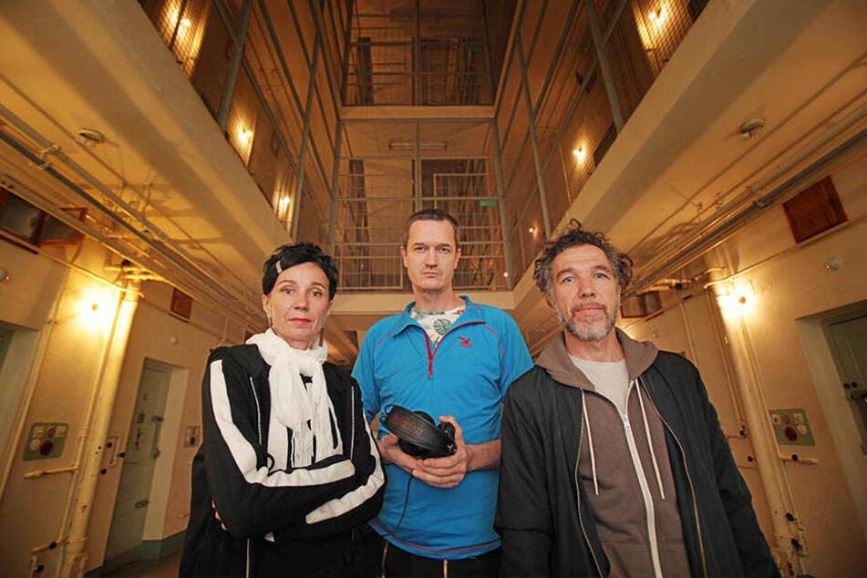 Das Dresdner Künstlerpaar Harriet Maria und Peter Meining (r.) hat das Hörspiel gemeinsam mit Sounddesigner Nikolaus Woernle (M.) entwickelt.