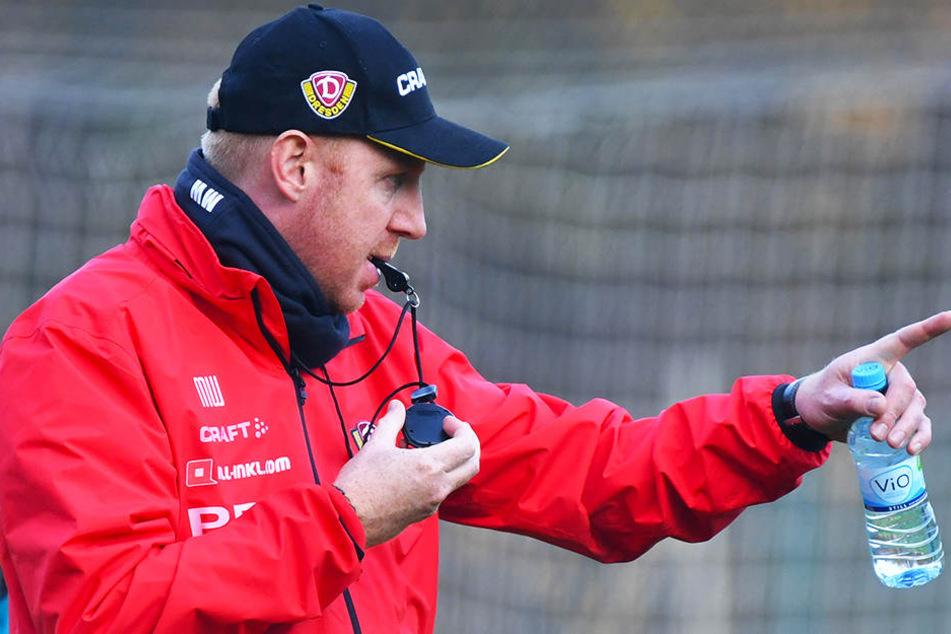 Dynamo-Cheftrainer Maik Walpurgis nahm in dieser Woche die Zügel selbst in die Hand. Mit Trillerpfeife, Stoppuhr und Trinkflasche leitete er das Training.