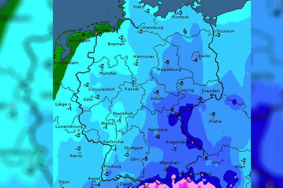 Wie die Karte von Wetteronline zeigt, wird es am Donnerstag mancherorts bitterkalt.