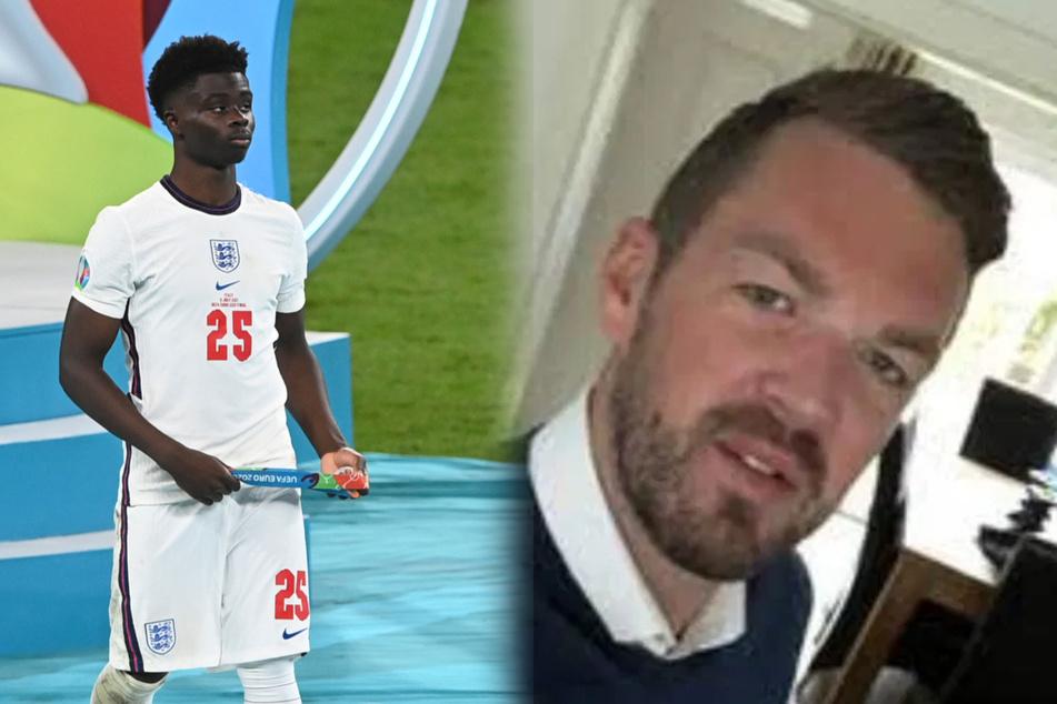 Wegen Rassismus wurde Immobilienmakler Andrew Bone (r.) vorläufig suspendiert. Links zu sehen: Bukayo Saka nach dem EM-Finalspiel.