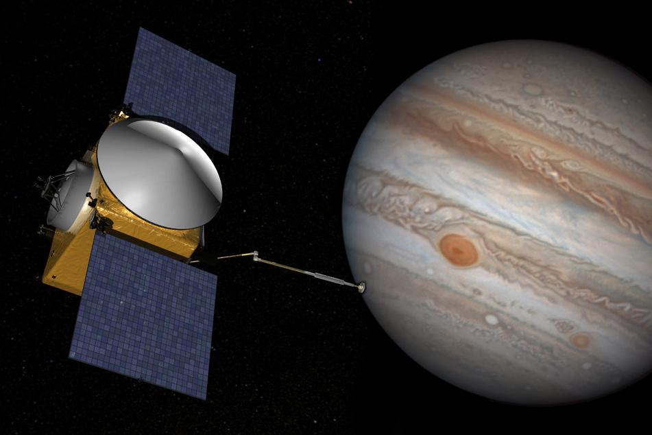 In der Nähe des Jupiters wurden fünf Sekunden lang Radiowellen gemessen! (Bildmontage)