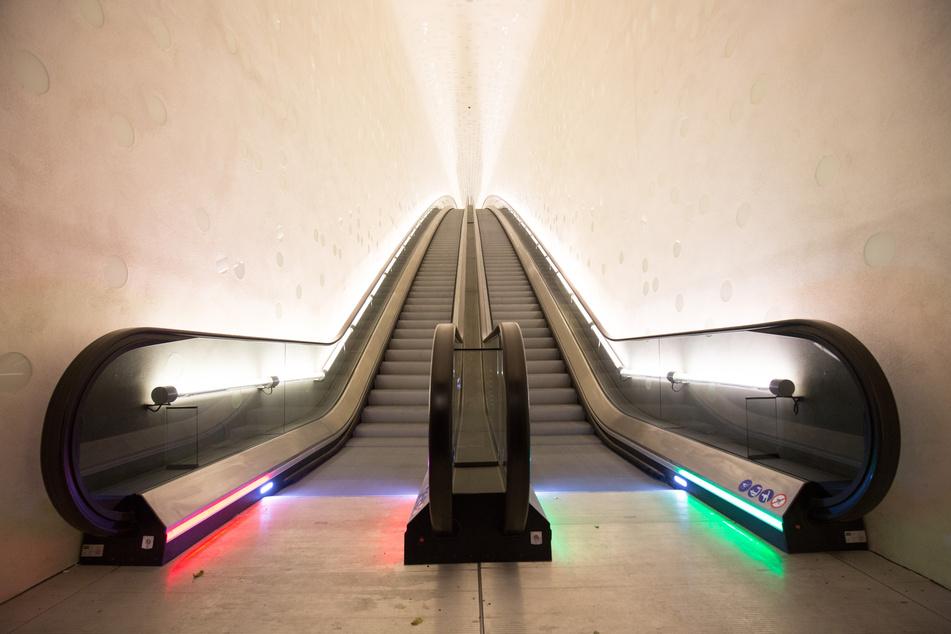 Der Eingangsbereich zur Elbphilharmonie über die Bogenrolltreppe. (Archivbild)