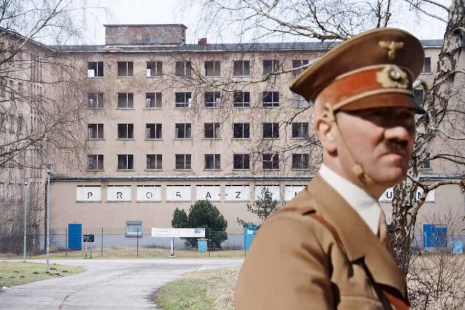 """Im Prora-Block 5 auf Rügen sollen Wohnungen in Strandnähe entstehen. Hier wollte Hitler einst sein """"Seebad der 20.000"""". (Bildmontage)"""