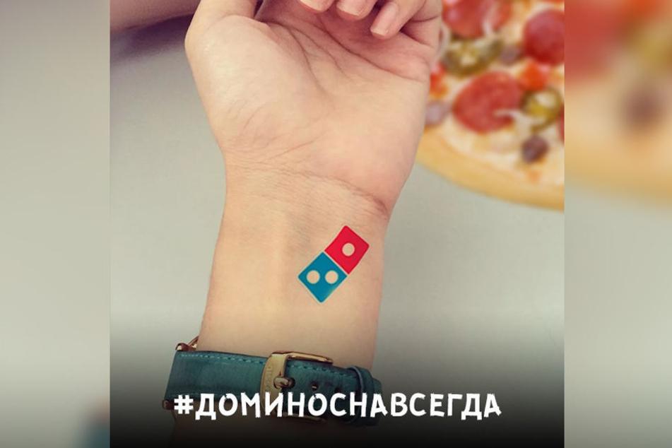 Mit diesem Tattoovorschlag hatte Domino's Pizza für die Aktion geworben.