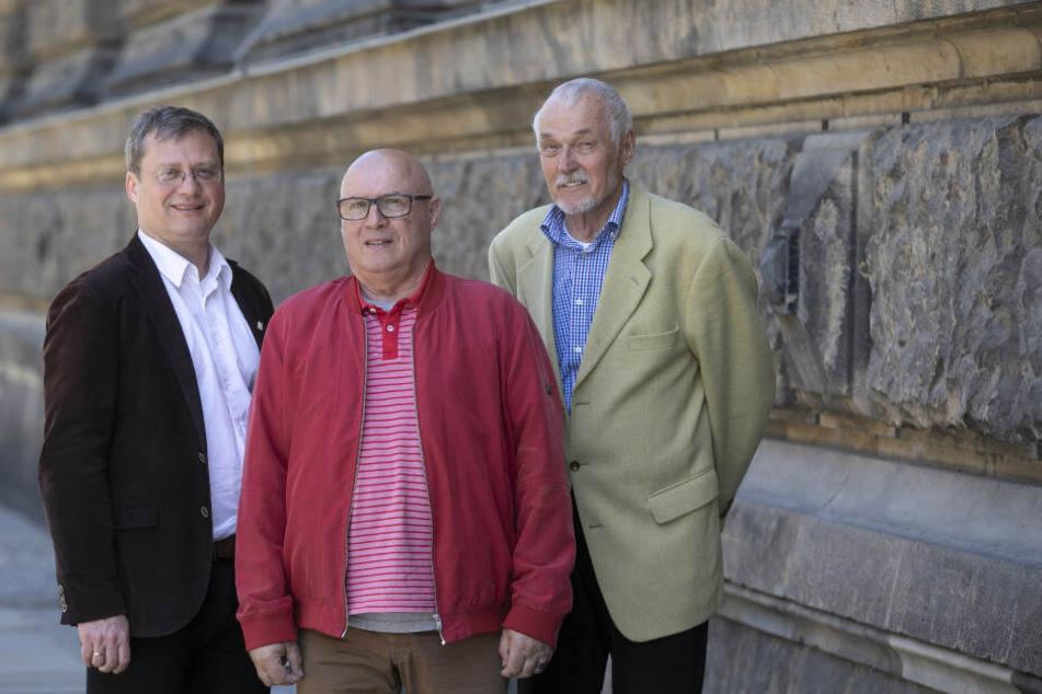 Die Neumarkt-Retter: Torsten Kulke (52), Jürgen Borisch (75) und Helfried Berndt (78) sind nur drei von Hunderten von Kämpfern für den historischen Wiederaufbau.