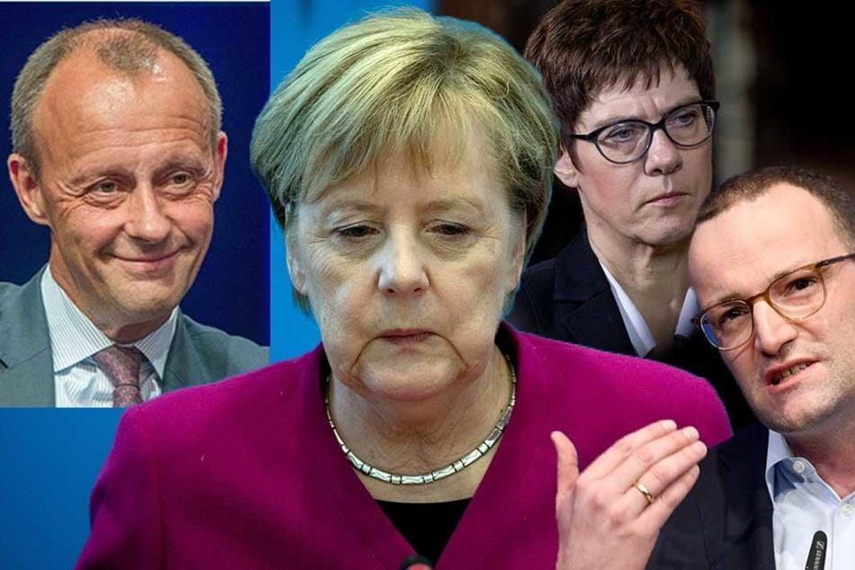 Wer beerbt Angela Merkel (64) an der CDU-Spitze? Friedrich Merz (62), Annegret Kramp-Karrenbauer (56) oder Jens Spahn (38)? (Bildmontage)