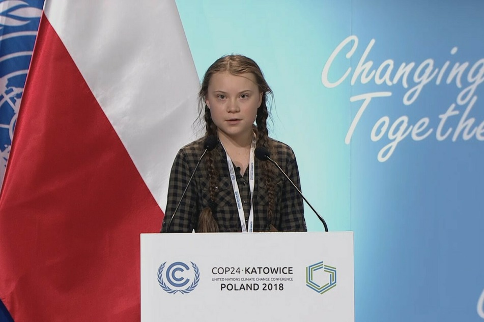 Greta Thunberg bei ihrem ersten öffentlichen Auftritt auf Klimakonferenz im polnischen Katowice 2018.
