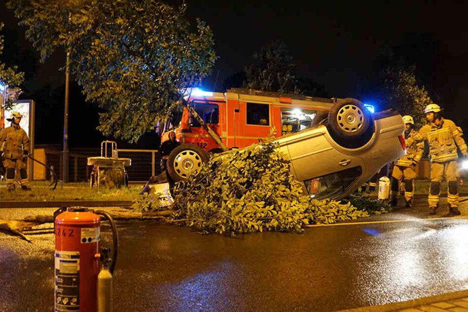 Kaum zu glauben, dass der Fahrer nur mit leichten Verletzungen aus seinem Fahrzeug geborgen werden musste.