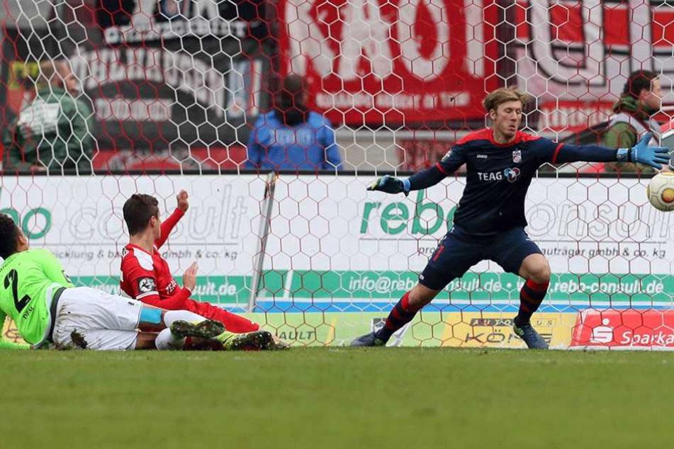 Auch beim 2:1-Sieg in Erfurt erzielte Jamil Dem (Nummer 2) die Chemnitzer 1:0-Führung.